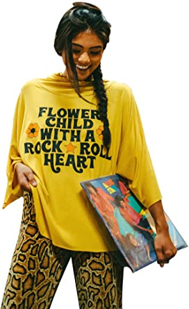 Flower Child Bat Wing Tee with Hood