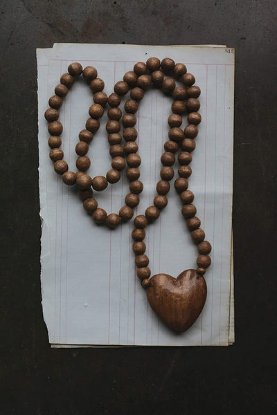Hand-Carved Wood Beads with Heart