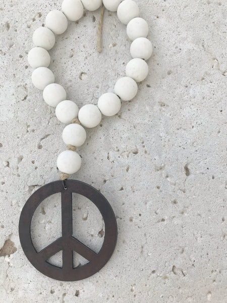 Seashell Mini Love Beads with Peace Sign