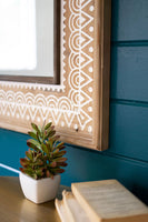 Rectangle Wooden Mirror with White Etched Detail