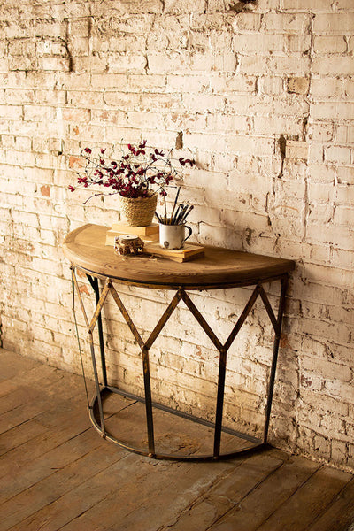 Metal Demi Lune Table with Natural Wood Top