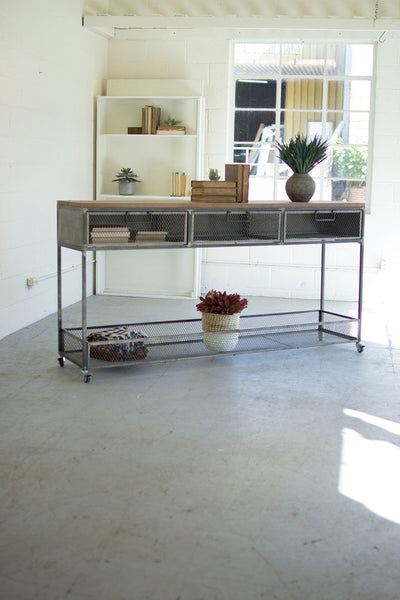 Rolling Metal Console with Wire Mesh Drawers & Wood Top