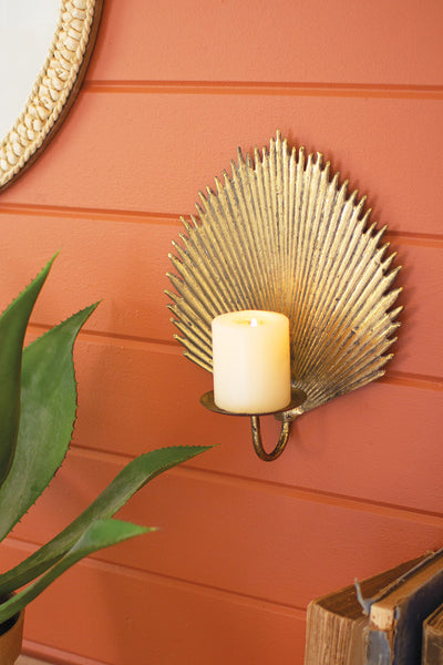 Antique Brass Palm Leaf Candle Sconce