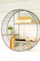 Round Wire Mesh and Recycled Wood Shelving Unit