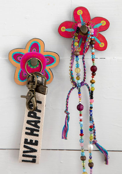 Flower Wooden Wall Hook Set