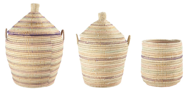 Beige Handwoven Purple/Pink/Gray/White Wrapped Grass Basket with Lid