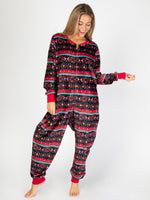 Black Border Fleece Adult Onesie