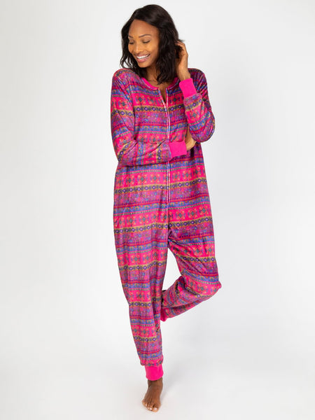 Magenta Border Fleece Adult Onesie