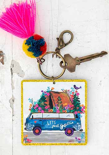 Let's Just Go Chirp Keychain