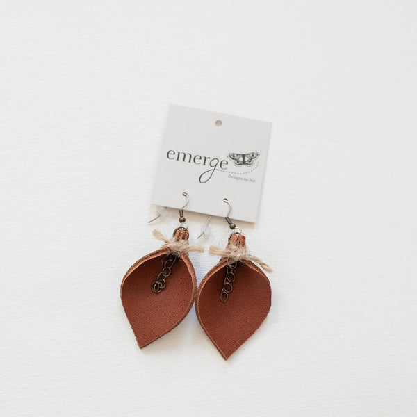 Brown Leather Folded Leaf Earrings