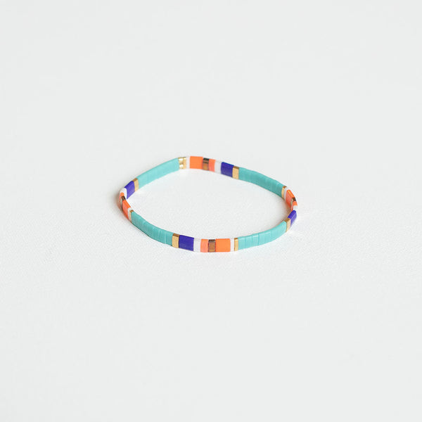 Turquoise, Orange, & Blue Beaded Bracelet