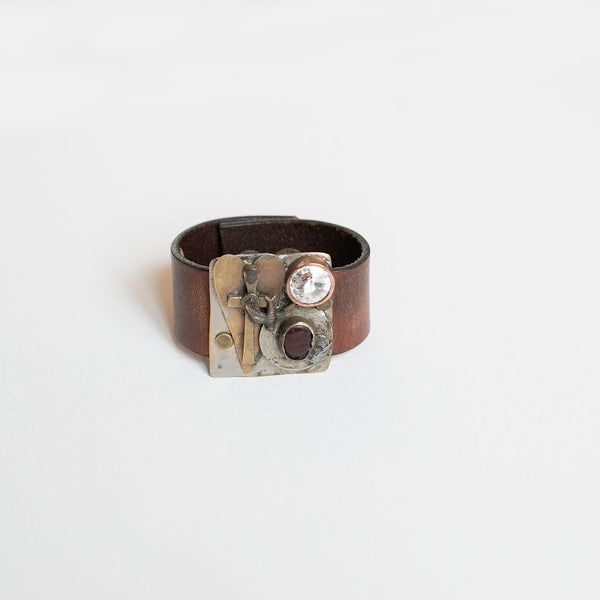 Repurposed Metal Leather Cuff with Cross, Heart, & Ruby