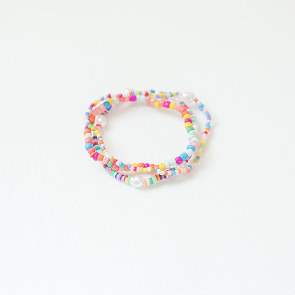 Rainbow & Pearl Bracelets, Set of 3