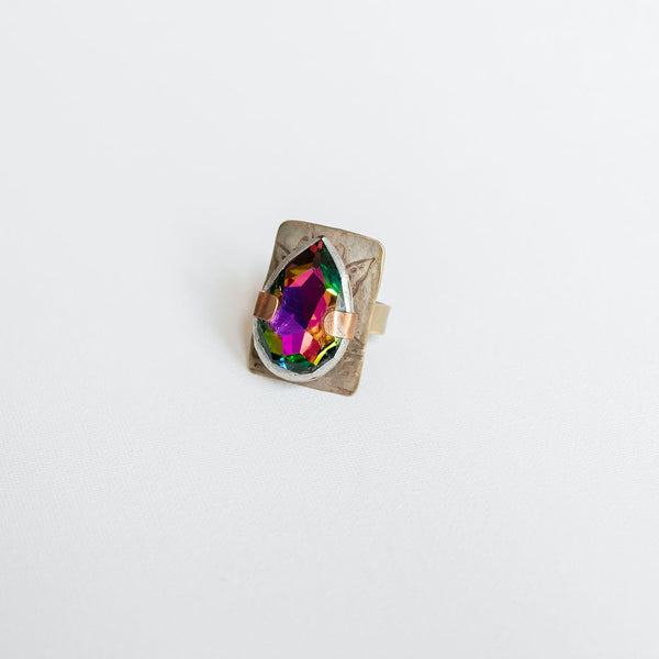 Iridescent Tear-Drop Ring, Size 7