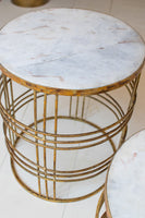 Round Marble Top with Rustic Gold Base Table