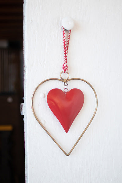 Antique Brass & Red Heart Door Hanger