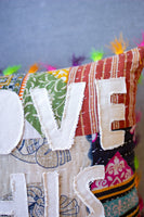 I Love This Place Kantha Pillow