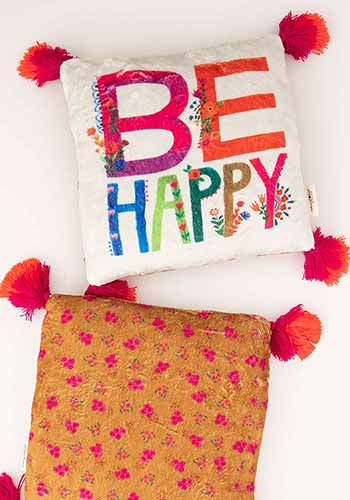 Be Happy Cozy Chirp Pillow