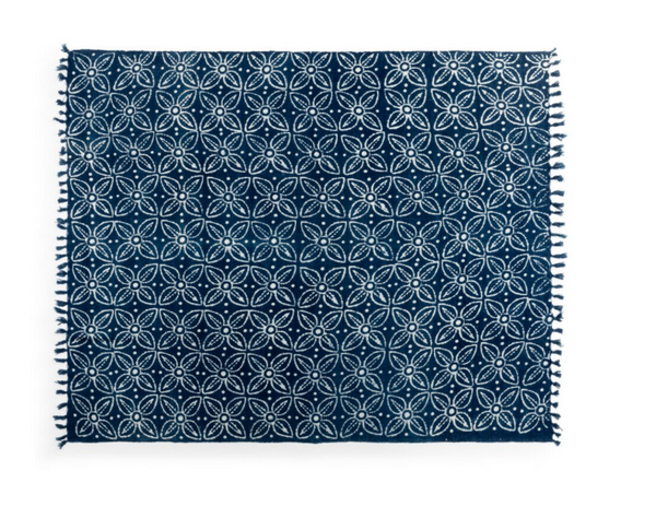 Indigo Block Print Throw Blanket