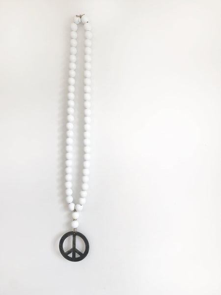 White Original Love Beads with Peace Sign