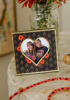 Black Floral Heart Photo Frame