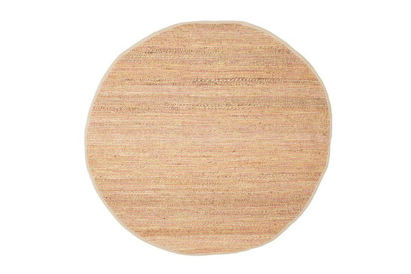 Pink & Natural Round Woven Jute & Chenille Rug