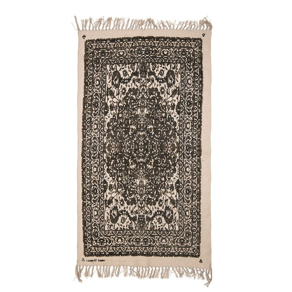Black & Natural Cotton Printed Dhurri Rug with Fringe