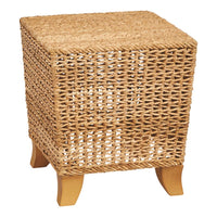 Hand-Woven Water Hyacinth Square Stool with Wood Legs