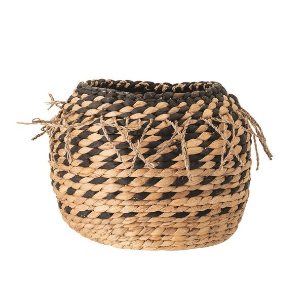 Hand-Woven Water Hyacinth Basket with Braided Fringe, Black & Natural