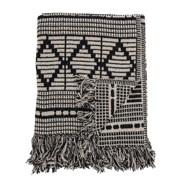 Black & Beige Woven Recycled Cotton Throw