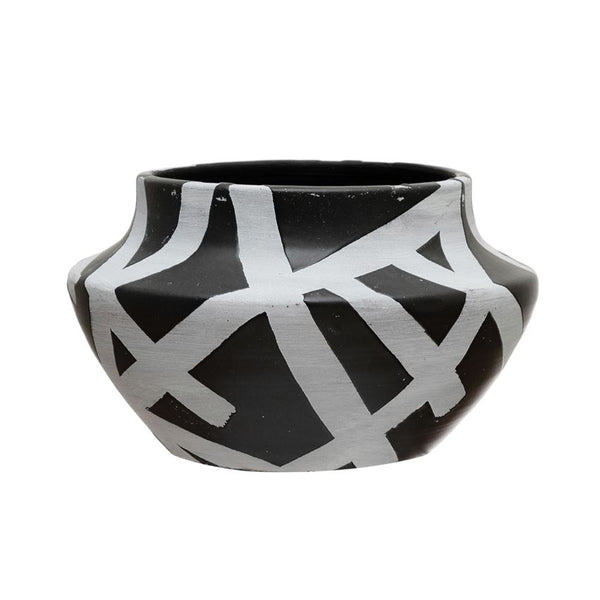 Distressed Black & White Terra-Cotta Planter