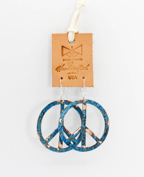 Turquoise & Copper Patina Peace Sign Earrings