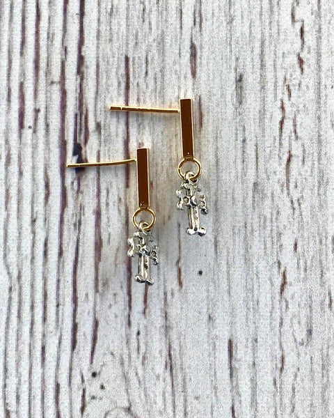 Pixie Post Cross Earrings