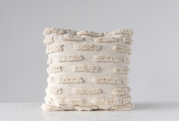 Cream Square Woven Cotton Pillow with Fringe