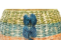 Multi-Color Hand-Woven Cattail Basket with Raffia Pom-Poms
