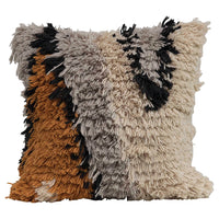 Square Wool Shag Pattern Pillow