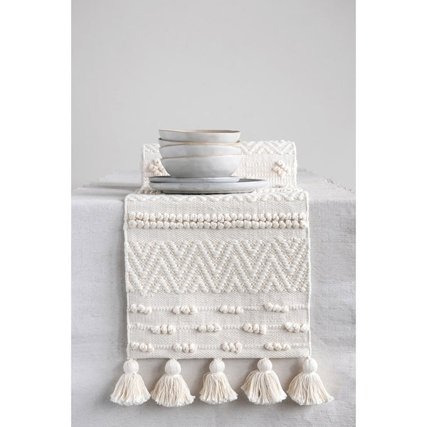 Cream Woven Cotton Textured Table Runner with Pom-Poms & Tassels