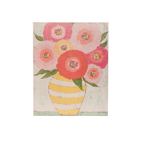 Pink Flowers in Yellow Striped Vase Wall Decor