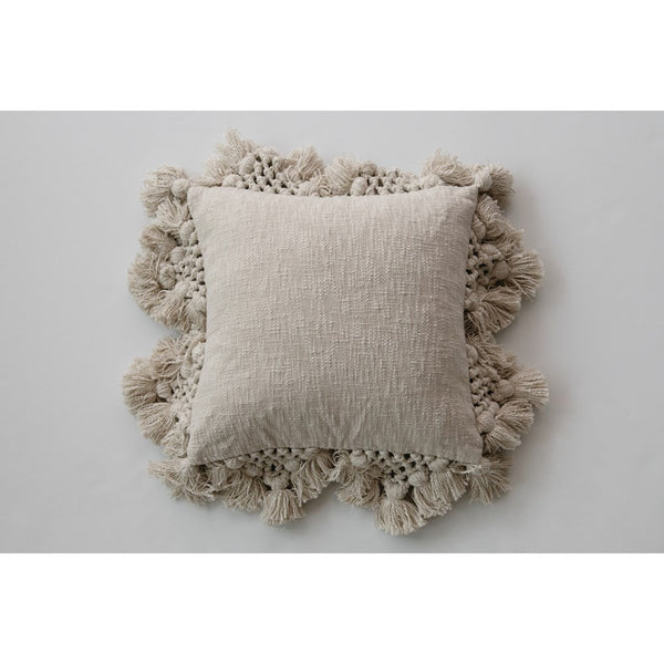 Grey Square Slub Pillow with Tassels & Macrame
