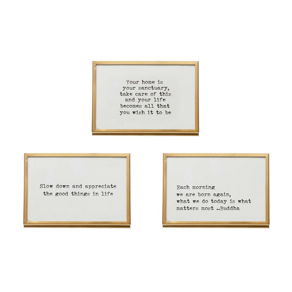 Gold & Glass Frames with Sayings, 3 Styles