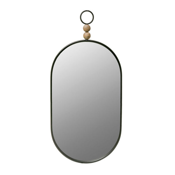 Oval Black Metal Framed Wall Mirror with Wood Beads