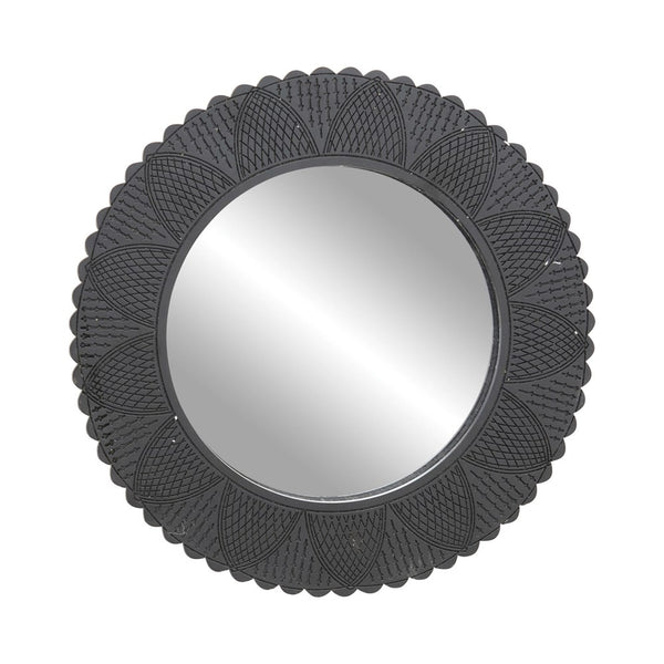 Hand-Carved Black Wall Mirror with Cut-Outs & Scalloped Edges