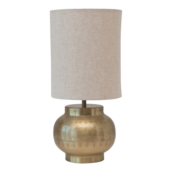 Antique Brass Engraved Metal Table Lamp with Linen Shade