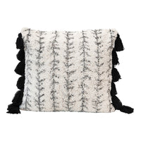 White and Gray Square Printed Tufted Pillow with Black Tassels
