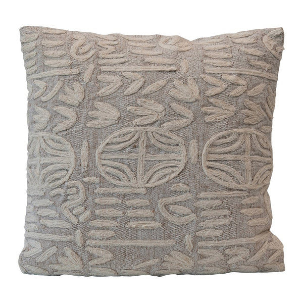 Beige & Cream Square Cotton & Jute Appliqued Pillow