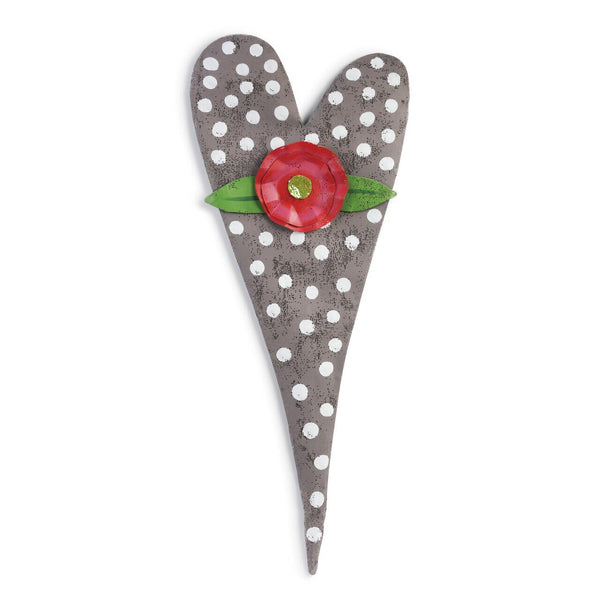 Grey Polka Dot Heart Door Screen with Flower