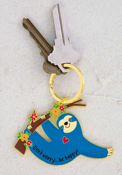 Don't Worry Be Happy Sloth Keychain