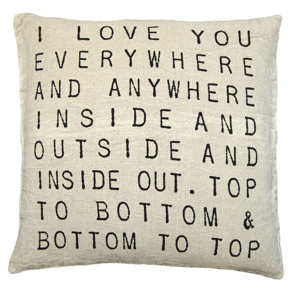 I Love You Everywhere Art Pillow