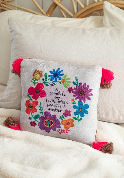 Beautiful Day Begins Cozy Chirp Pillow