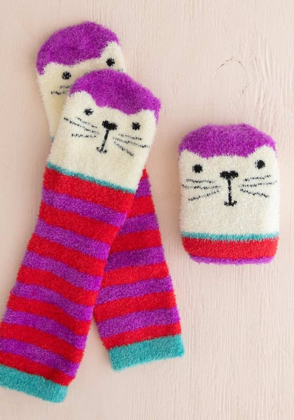 Pink Cat Cozy Socks